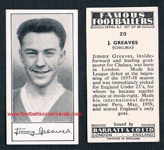 1959 Jimmy Greaves rookie Chelsea A7 series Barratt & Co trade card